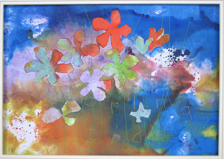 Spring Tide (includes mono-printing, machine stitching, collage)